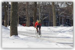 Le cycliste et son vélo résistent aux grands froids et aux grands vents, par courage ou par témérité